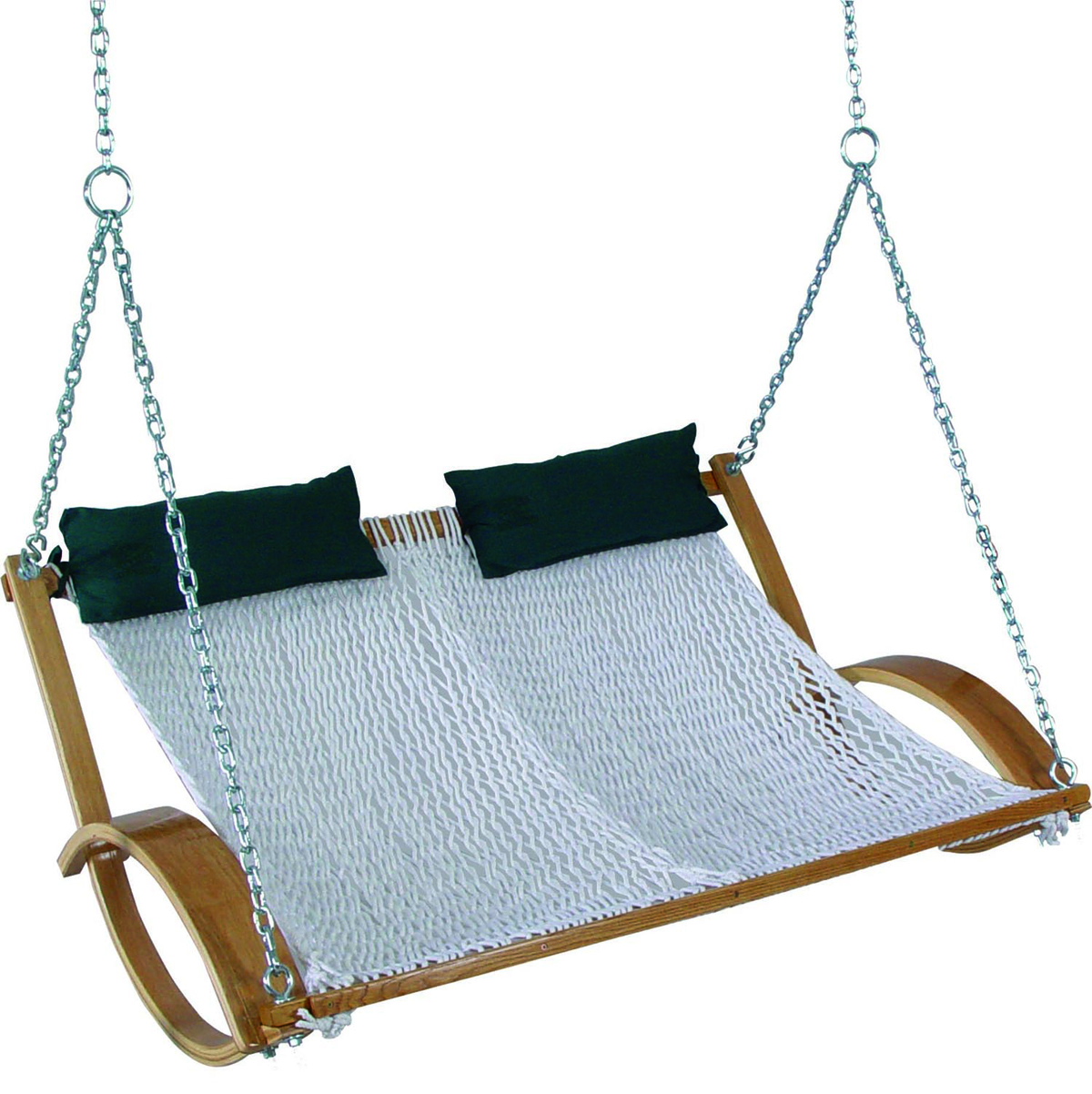 Pawleys Island Hammocks Double Polyester Rope Swing, Green Steel Stand